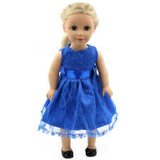 "Fits 18"" American Girl Madame Alexander Handmade Doll Clothes blue dress MG006"
