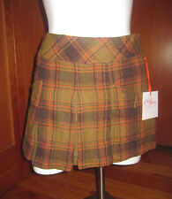 Chulo Pony Plaid pleated school girl style Green skirt small 45% wool