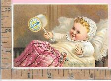 """GEORGE A CLARK SPOOL THREAD SEWING MACH. BABY """"A FAVORITE WITH THE LADIES"""" CARD"""