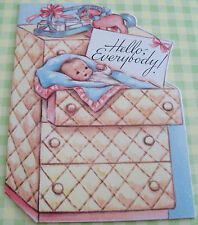 Unused Vtg Baby Card Little Announcement Baby in Dresser Drawer Hello Everybody!