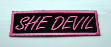 P2 She Devil in Pink Funny Humour Iron on Patch Laugh Biker