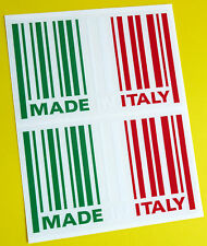 MADE IN ITALY flag BARCODE sticker decal x2 SCOOTER LAMBRETTA VESPA PIAGGIO