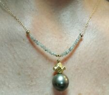 1ct gray Diamond faceted Tahitian black pearl 14k gold flower pendant necklace