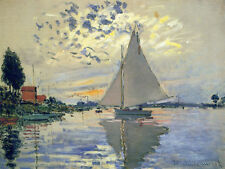 Sailboat Le Petit-Gennevilliers  by Claude Monet  Handmade Oil Painting repro