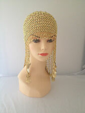 vintage style gold coloured beaded flapper 20s headpiece hat fancy dress