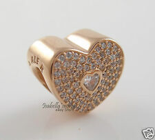 SWEETHEART Genuine PANDORA Rose GOLD Plated CLEAR CZ Love HEART Charm/Bead NEW
