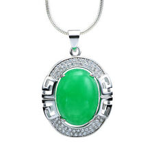 Fashion Silver Jewelry Natural Green Jade Oval Gemstone Necklace Pendant New