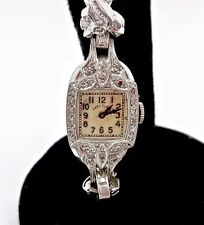 WOMENS VINTAGE ELGIN 535 PLATINUM DIAMOND MECHANICAL 19J WRISTWATCH,RUNS