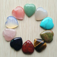 Wholesale 10pcs/lot Assorted Natural stone heart Cab CABOCHON Stone Beads 25mm