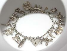 VINTAGE 925 STERLING SILVER 16 CHARMS BRACELET with HEART PADLOCK CLASP  / W 970