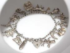 VINTAGE Argento Sterling 925 16 Charm Bracciale con cuore lucchetto Fibbia / W 970
