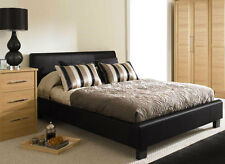 New Roma Cheap 5ft King Size Black Modern Designer Faux Leather Bed Frame SALE