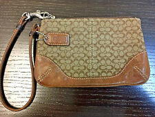 Authentic Coach Mini Signature Skinny Brown Leather Canvas Wristlet