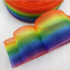 "1m RAINBOW PRIDE RIBBON COLOUR FADE 1.5"" 38mm ORGANZA RIBBON HAIR BOW CAKE"