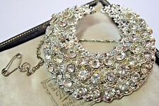 VINTAGE ART DECO JEWELLERY RHINESTONE CRYSTAL LARGE CRESCENT MOON PIN BROOCH