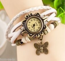 VINTAGE RETRO BEADED BRACELET LEATHER WOMEN WRIST WATCH - BUTTERFLY WHITE