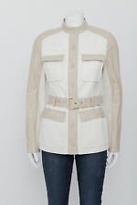TORY BURCH White Linen Light Brown Leather Button Down Safari Belt Coat Jacket 4