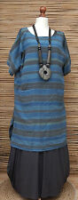 LAGENLOOK LINEN/COTTON STRIPED 2 POCKETS LONG TUNIC-DRESS*MULTI*BUST UP TO 50""