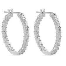 Inside Outside Diamond Hoop Earrings Set in .925 Sterling Silver