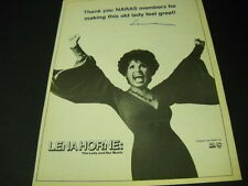 LENA HORNE Thanks...for making this old lady feel great! 1982 PROMO POSTER AD