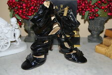 LAMB GWEN STEFANI L.A.M.B. BLACK PATENT LEATHER STILETTOS WOMEN'S HEELS SIZE 6 M