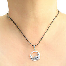 Mermaid Charm Pendant Necklace with Black Cord