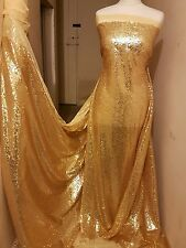 "1M NEW  sun Gold  TULLE  FULLY  SEQUINED  SMALL SEQUIN  DRESS FABRIC 58"" WIDE"