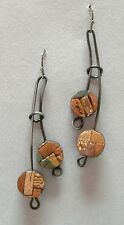 Double Drop Copper Rust Brown Mosaic Clay Earrings Handmade Pierced Unique New