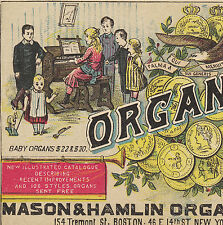 Baby Organ Mason & Hamlin Piano Eagle Exposition Medals Advertising Trade Card