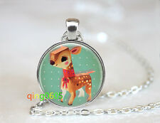 Baby Deer photo glass dome Tibet silver Chain Pendant Necklace wholesale
