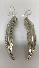 Native American Sterling Silver Navajo Feather Design Earrings