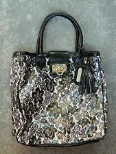 Betsey Johnson Large Black White Patent Faux Leather Lace Print Tote Bag Purse
