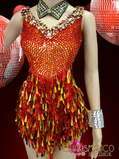 """CHARISMATICO """"Orange"""" red and gold sequin dress with beaded side cutouts"""