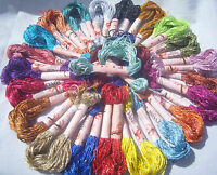 25 Skeins Large Silk Stranded Glitter Twisted Embroidery Threads 25 Dif. Colours