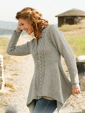 "Womans Ladies Medieval Asymmetric Aran Cable Jacket Knitting Pattern ~ 30"" - 50"""