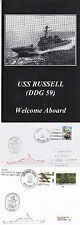 GUIDED MISSILE DESTROYER USS RUSSELL DDG 59 A SHIPS CACHED COVER CARD & BROCHURE