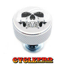 Chrome Knurled Billet Seat Bolt 96-UP Harley Touring  GHOST SKULL - 086