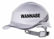 2X WANNABE Hard Hat vinyl decal. Sticker transfer CUSTOM COLOUR & FONT