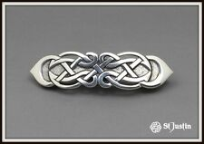 CELTIC FIGURE EIGHT HAIR SLIDE ~ PEWTER ~ FROM ST. JUSTIN ~ FREE P&P ~ UK MADE