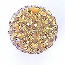 2 Rhinestone clay pave 10mm beads for Shamballa Bracelets - Light Topaz - G269