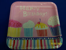 """Yummy Cupcake Pink Food Sweets Girl Birthday Party 9"""" Square Paper Dinner Plates"""