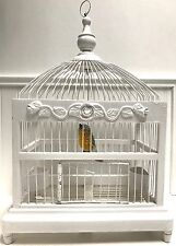 Vintage Wood & Metal Wire White Bird Cage For Decor w/ Wood Bird Ornament