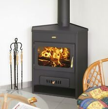 New 12kW.Corner Model Multi Fuel Wood Burning Stove With Niche For Woods Black