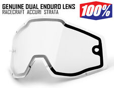 100% MOTOCROSS ENDURO GOGGLE GENUINE DUAL CLEAR LENS fit Racecraft Accuri Strata
