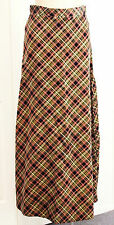 Vintage 1970s Skirt Velvet Plaid Size 8 W26 Retro Ladies Clothing 70s Red Winter