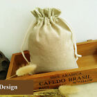 4 Size Beige Jute Hessian Drawstring Pouch Gift Vintage Wedding Favor Party Bags
