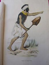 COSTUME POLYNESIE / Guerrier de Tonga Tabou 1847 rehaussée de couleurs