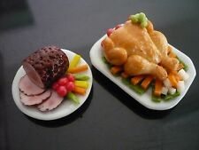 2 Thanksgiving Food XMAS Ham Turkey Dollhouse Miniatures Dinner (2.50 cm)-1