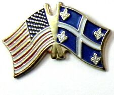 QUEBEC UNITED STATES US COMBO NATIONAL FLAG PIN BADGE 1 INCH