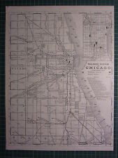 1890 CITY MAP/PLAN CHICAGO RAILROAD SYSTEM DEPOTS ~ EXCELLENT CONDITION ~